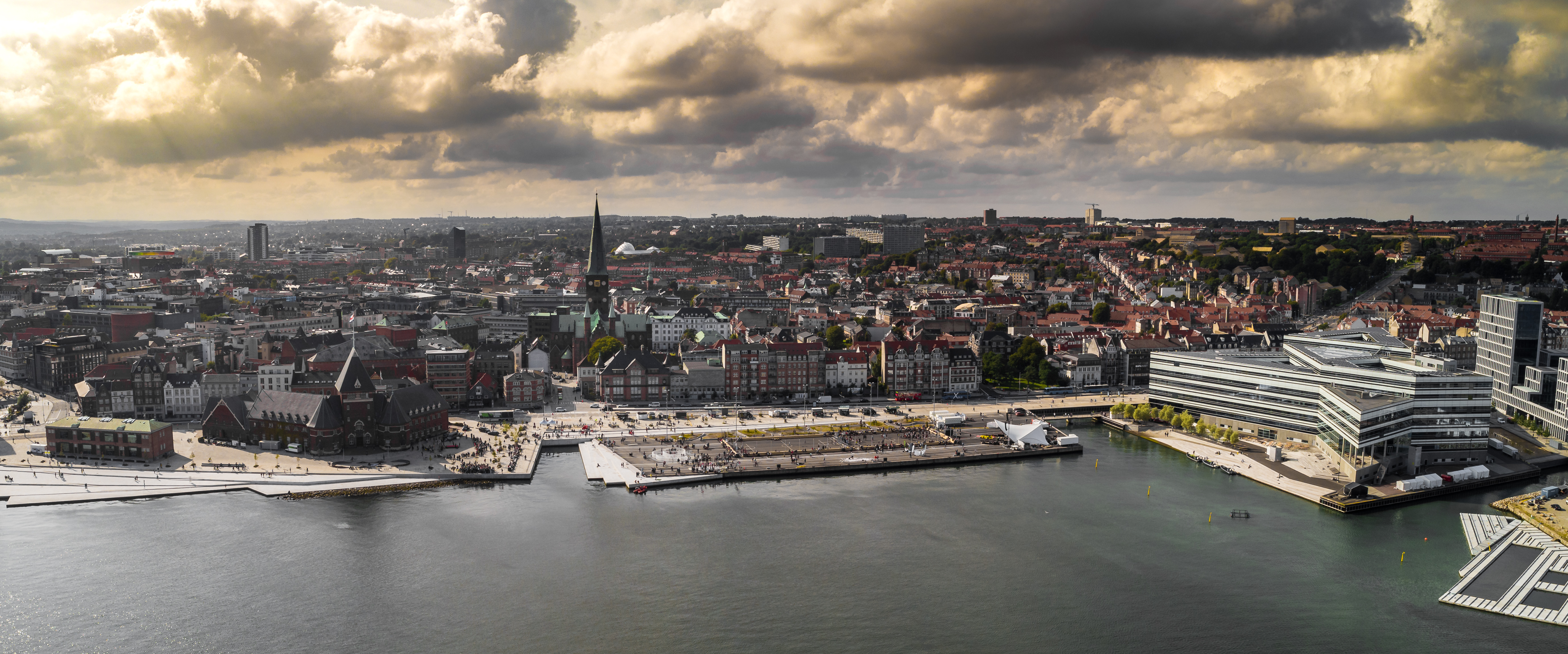 Drone view of waterfront of Aarhus