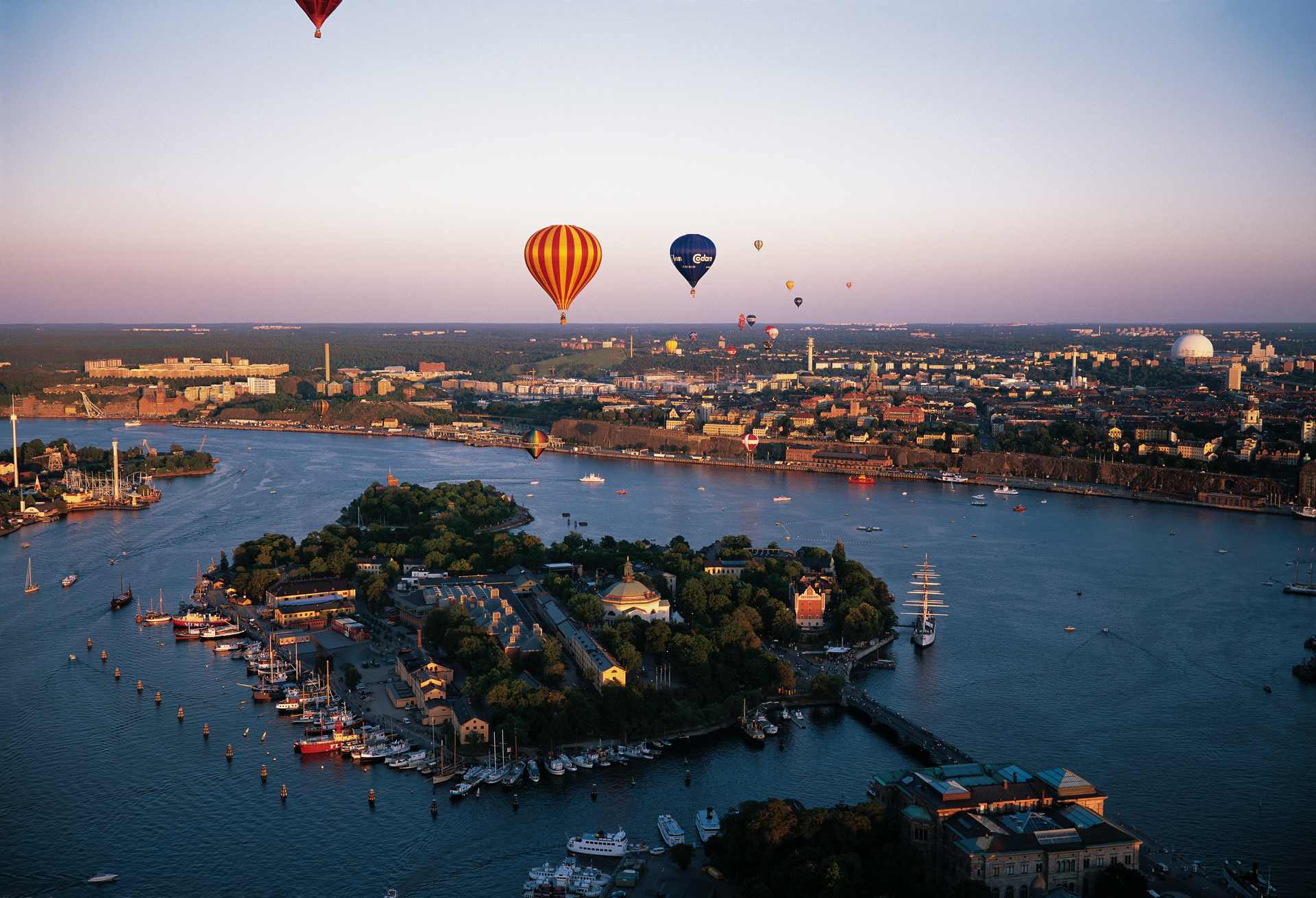 Stockholm view with baloons