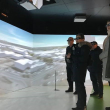 People inside the virtual reality studio in Vejle